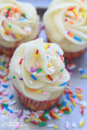 Homemade Funfetti Cupcakes - An easy homemade version of funfetti cupcakes – soft and fluffy vanilla cupcakes loaded with sprinkles and topped with a vanilla buttercream frosting.--- - @LifeMadeSweeter