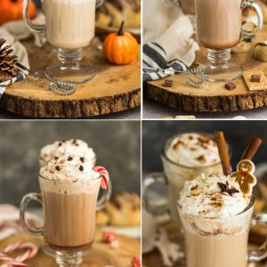 Collage of 4 varieties of homemade lattes in glasses