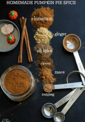 Top view of spices on a black background with labels to make pumpkin pie spice