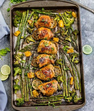Honey Lime Chicken Sheet Pan with Asparagus + Video