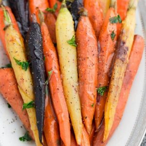 Top view of Honey Roasted Rainbow Carrots on a platter