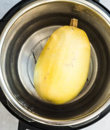 Top view of spaghetti squash in an Instant Pot