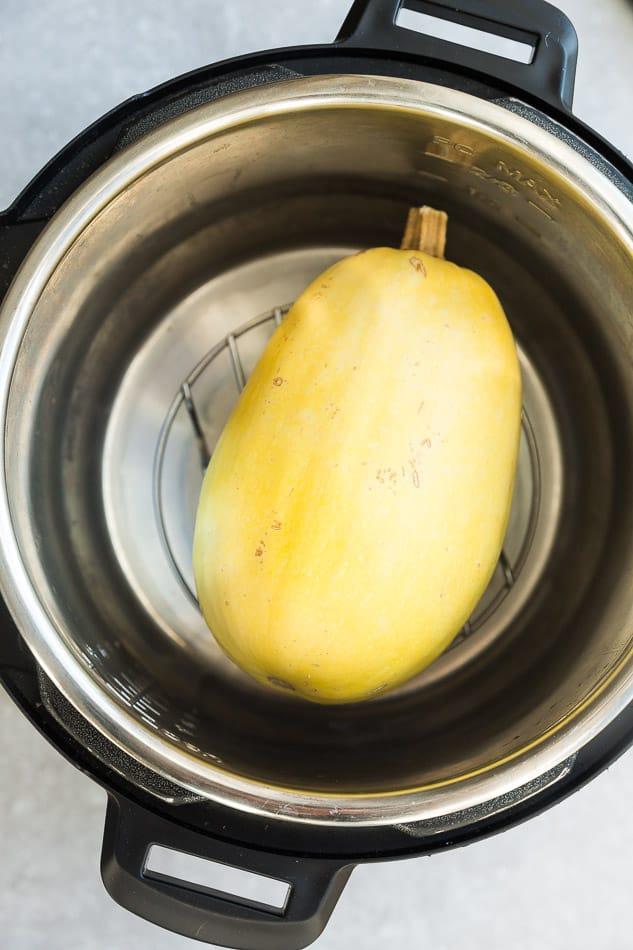 A whole spaghetti squash in an instant pot