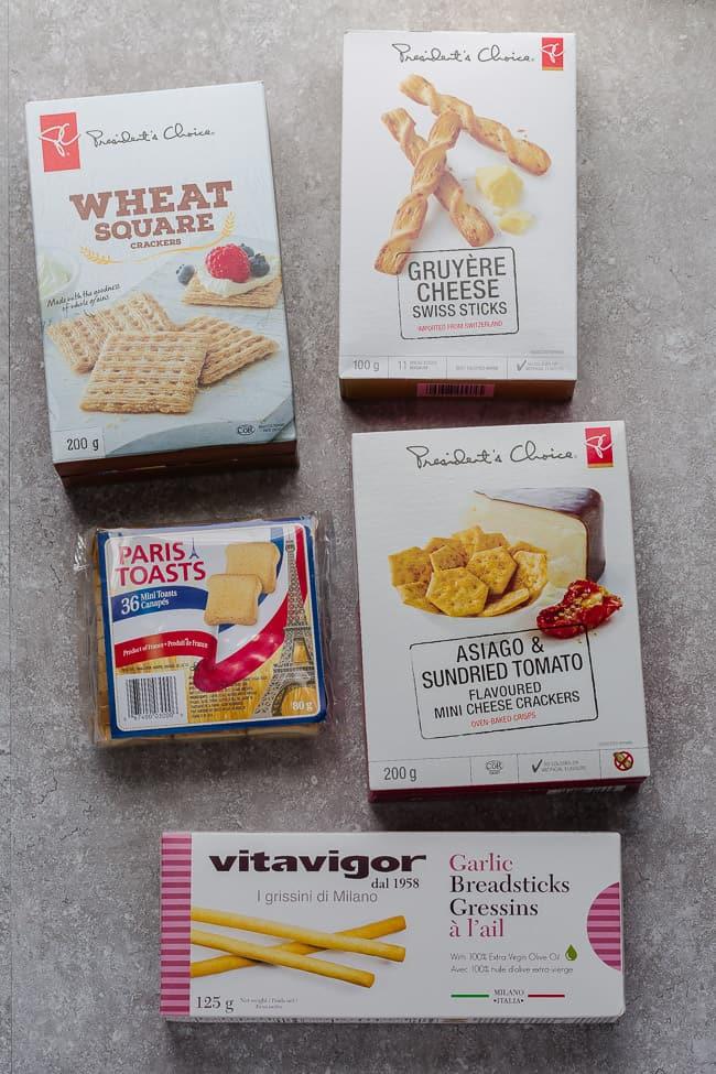 5 varieties of crackers in packages