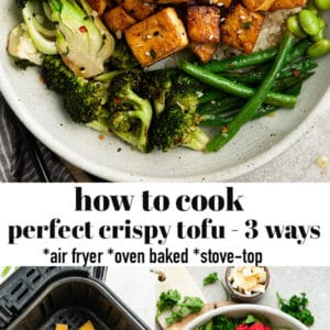 Pinterest collage of how to cook tofu