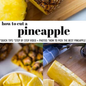 Pinterest collage for how to cut a pineapple.