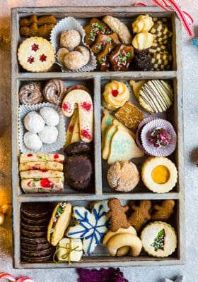 Top view of holiday cookie box on a grey background
