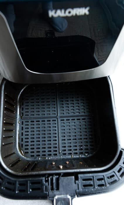 Close-up view of air fryer basket