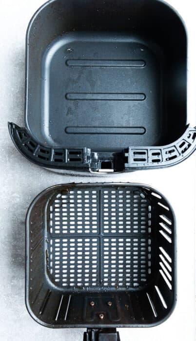 Top view of air fryer basket