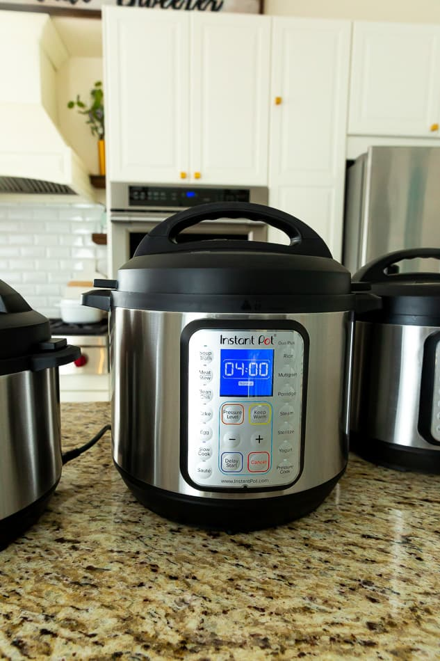 Front view of one Instant Pot-Duo Plus pressure cooker