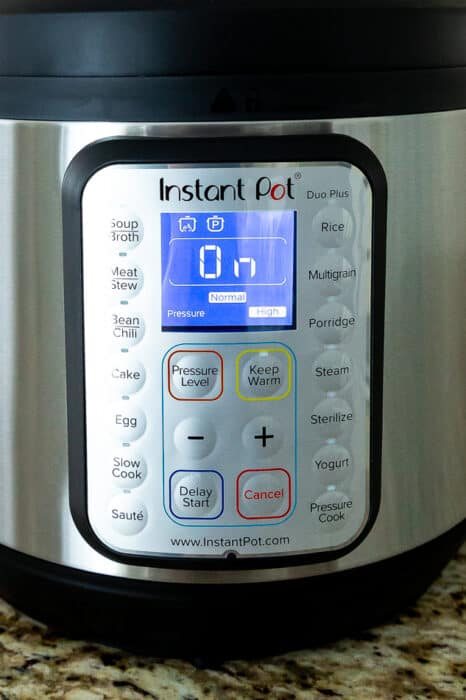 Close-up view of Instant Pot buttons on the Instant Pot Duo-Plus