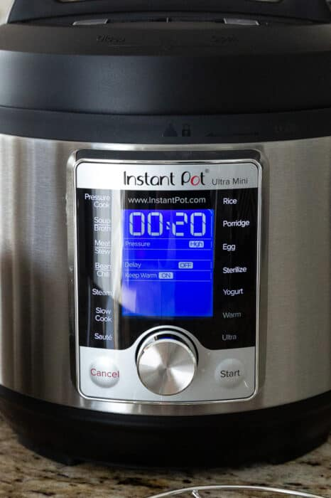 Close-up view of Instant Pot buttons on the Instant Pot Ultra-Mini