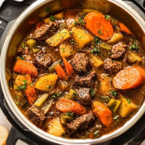 Top view of Instant Pot Beef Stew in the instant Pot