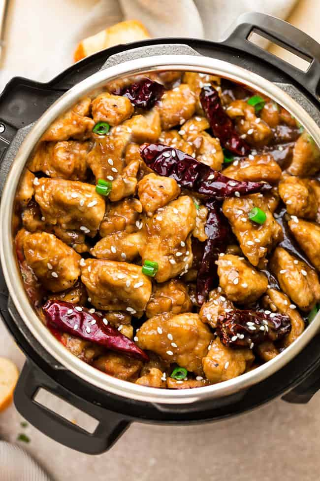 Instant Pot General Tso's Chicken - the perfect easy weeknight meal made in the pressure cooker. Best of all, this healthier recipe for this popular takeout dish has the same amazing flavors as your local Chinese restaurant. Low carb, keto and paleo-friendly!