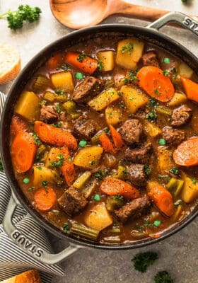Top view of Irish Beef Stew in cast iron dutch oven