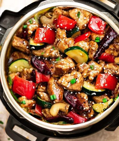 Instant Pot Kung Pao Chicken - the perfect easy pressure cooker recipe to curb that takeout craving for busy weeknights. Best of all, this popular favorite is made healthier with the same classic sweet & spicy flavors as your local Chinese restaurant.