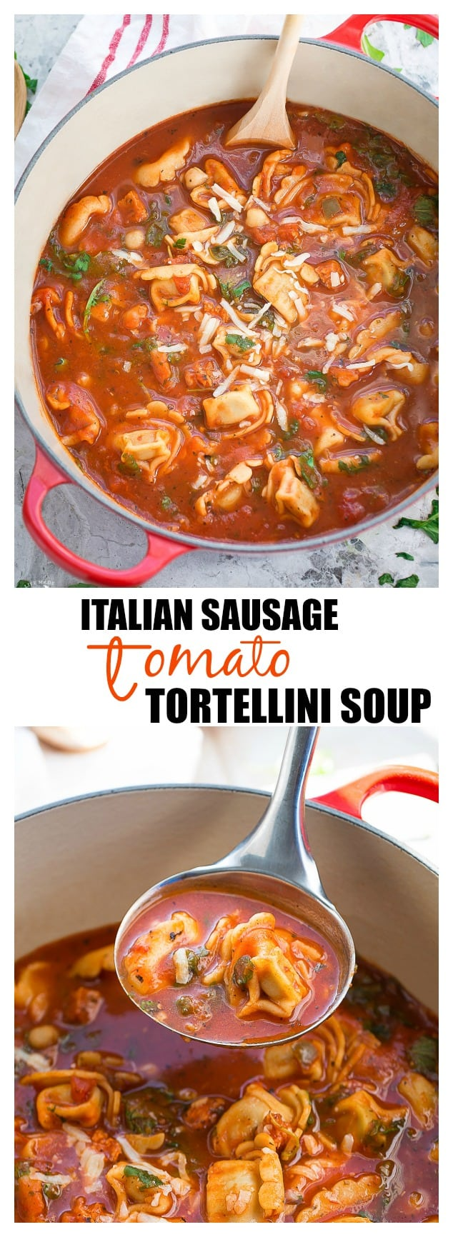 Italian Sausauge Tortellini Tomato Soup is an easy meal perfect for busy weeknights