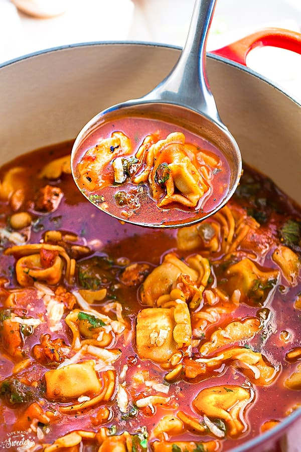 Italian Sausage Tortellini Tomato Soup is perfect for busy weeknights! Best of all, it's so easy to make and super delicious to warm up with on a cold day. Packed with flavor and easy to customize.