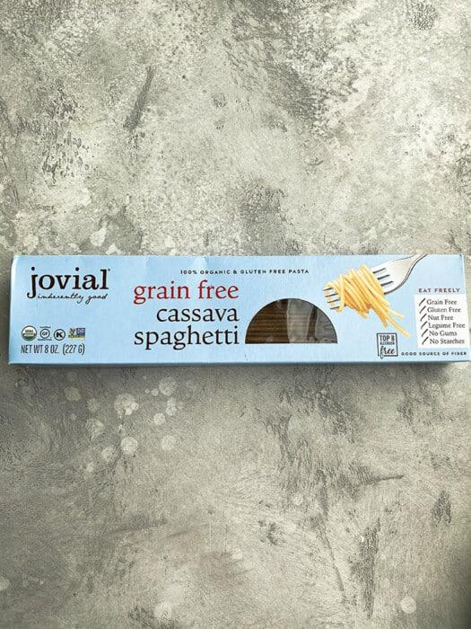 A box of Jovial Grain-Free Cassava Spaghetti on a grey background