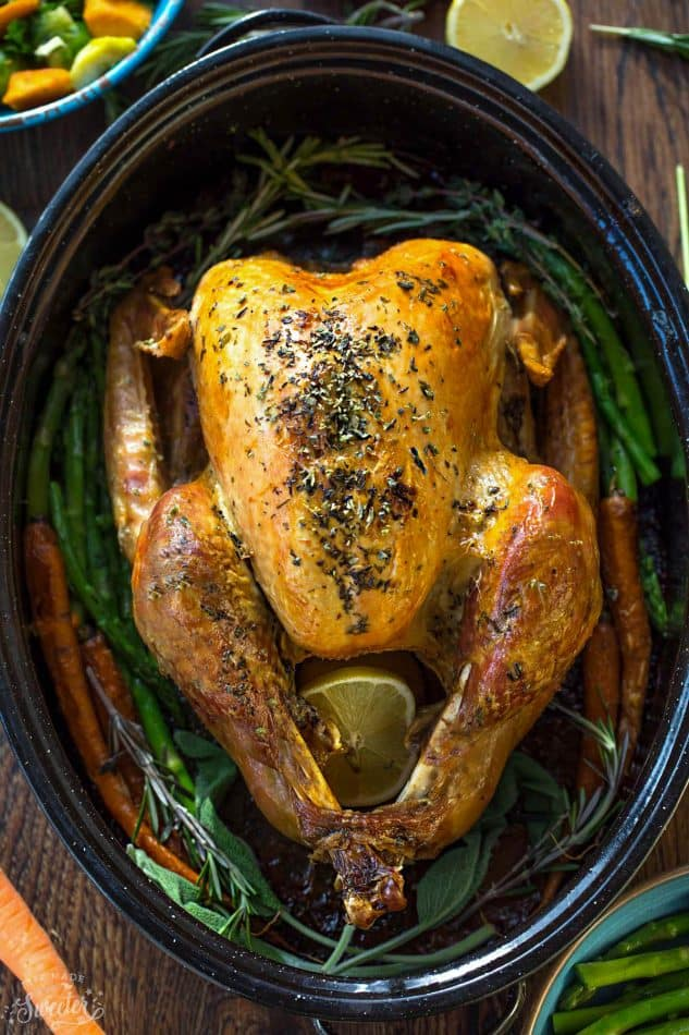Herb Garlic Roasted Turkey makes the perfect addition to any holiday meal! Best of all, this foodproof recipe is my favorite go-to I use every year for Thanksgiving and Christmas. It's full of sage, thyme, rosemary and parsley and produces a tender, moist and juicy turkey with a gorgeous golden skin.
