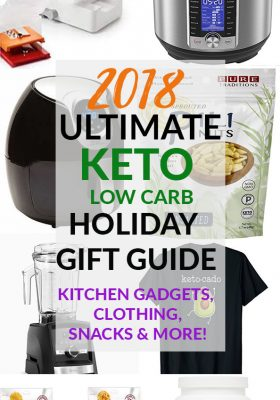 Looking for some keto low carb gift ideas for family and friends? This Ultimate Holiday Gift Guide includes favorite snacks, kitchen items, books and more for every budget!