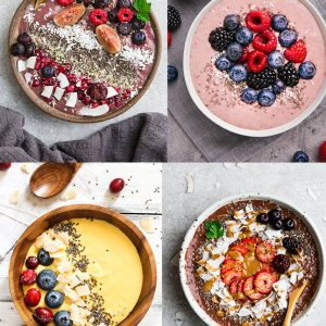 Top view of keto smoothie bowls on light surfaces with fresh fruits.