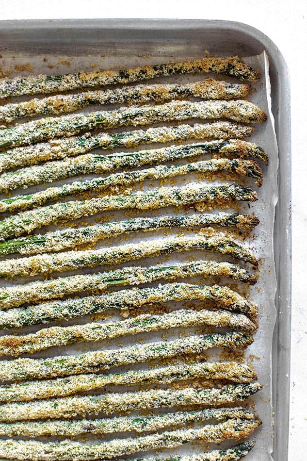 Close up overhead image of asparagus fries.