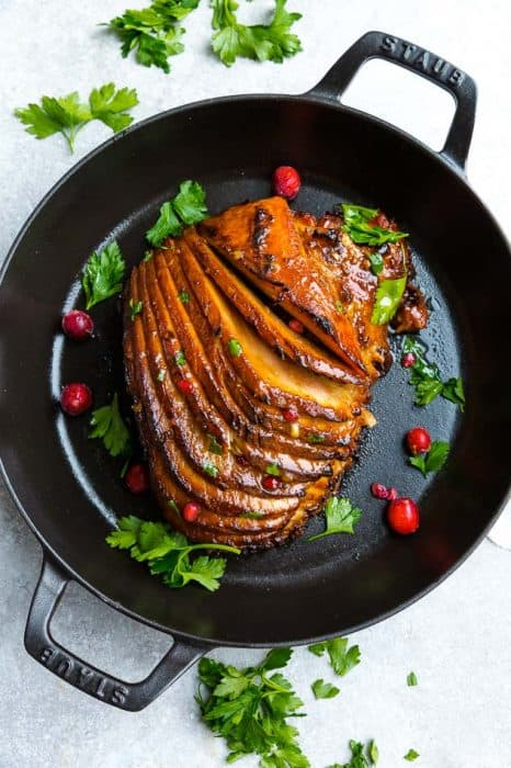 Top view of cooked instant Pot Ham on a cast-iron pan