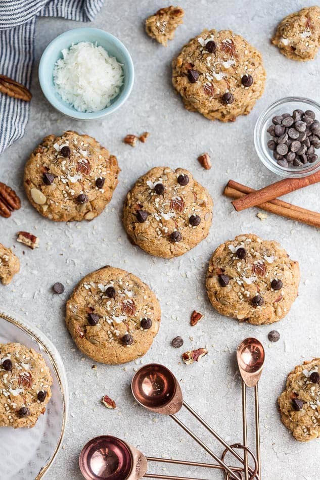 Keto Breakfast Cookies are soft, chewy and make the perfect healthy breakfast for on the go. Best of all, this delicious sugar free recie comes together in one bowl with almond flour, coconut flakes, sesame seeds and chopped nuts.