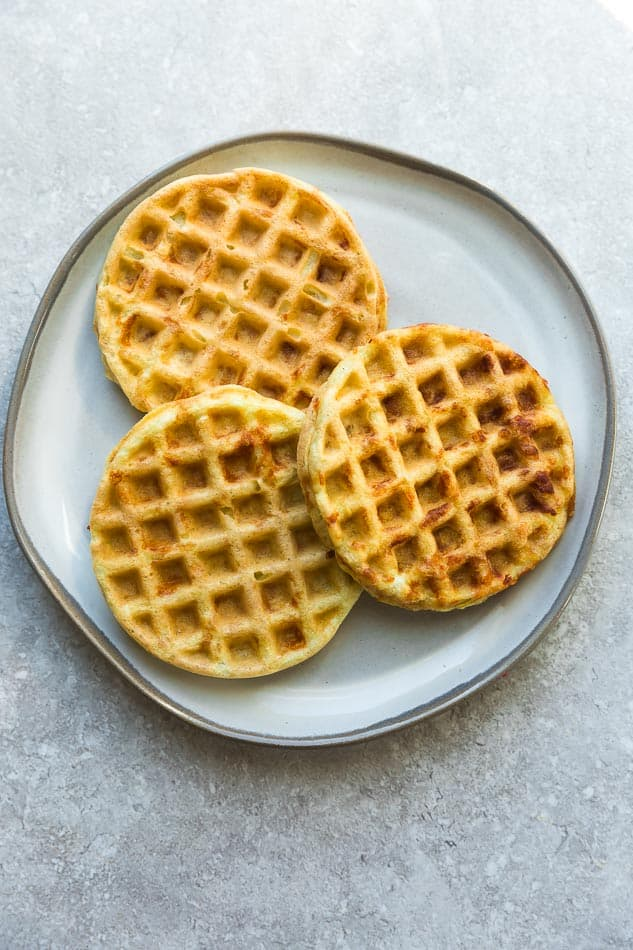 Top view of the best low carb keto chaffles on a grey plate