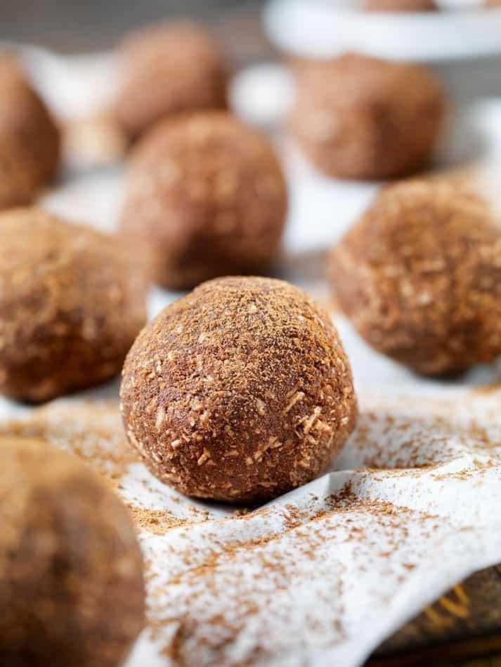 Close up of cocoa dusted keto chocolate truffle