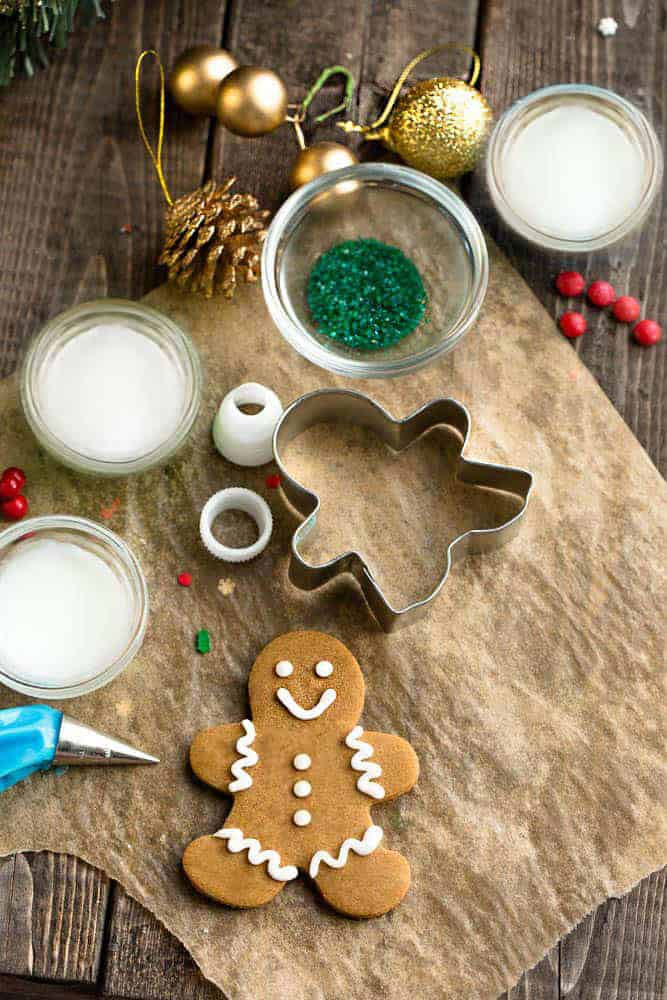 Decorated gingerbread man cookie with a variety of decorations