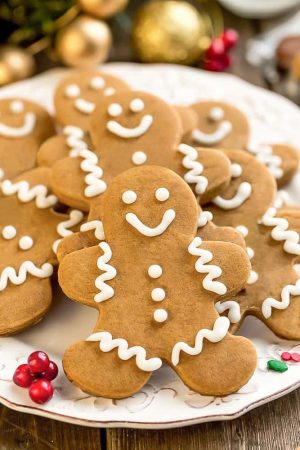 Top view of keto gingerbread cookies on a white plate