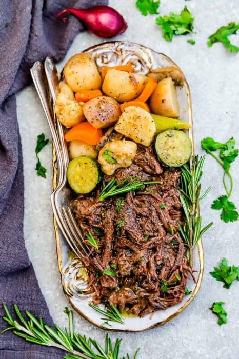 A Serving Plate Holding the Beef and Veggies from Keto Pot Roast