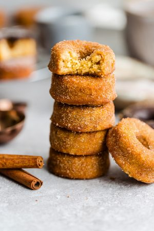 Side view of stacked Keto Pumpkin Donuts