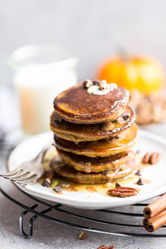 Keto Pumpkin Pancakes – soft, thick, fluffy and perfect for any fall breakfast, Thanksgiving morning or weekend brunch. Best of all, they're low carb, gluten free and paleo friendly.