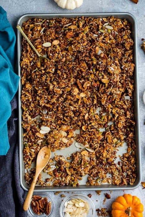 Top view of pumpkin granola on a baking sheet