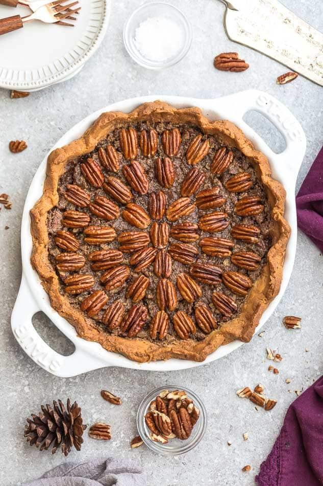 Top view of Keto Pecan Pie in a pie pan