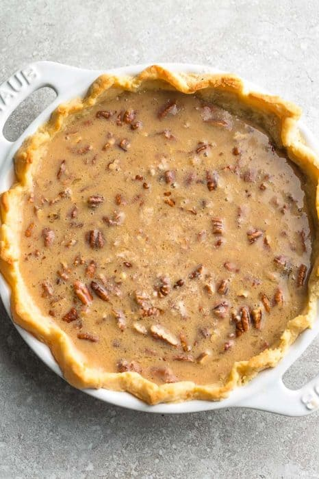 Par-baked crust with unbaked pecan pie filling