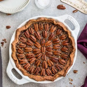 Top view of Keto Pecan Pie in a pie pan