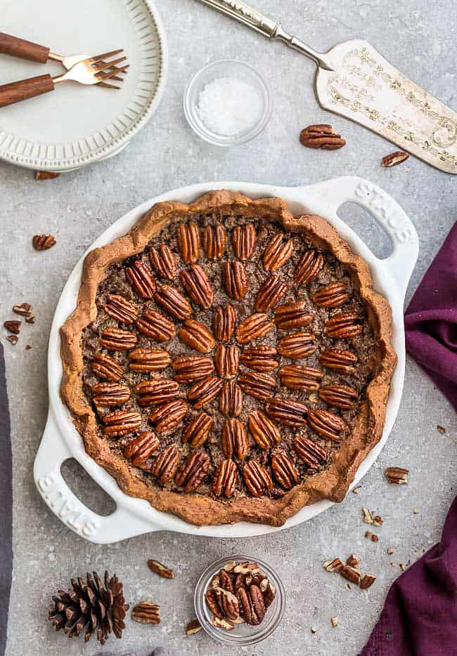 Topview of Keto Pecan Pie in a