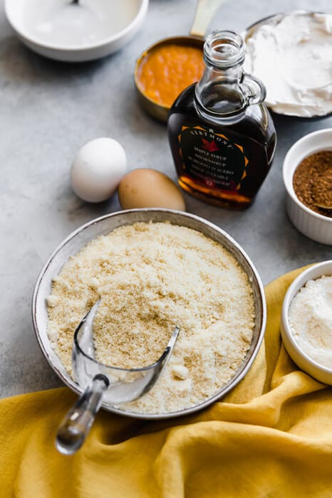 Top view of ingredients to make healthy pumpkin pie bars