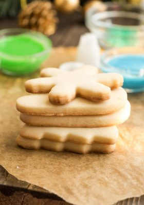 Side view of stacked Keto Sugar Cookies