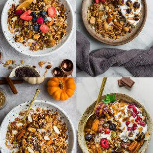 Top view of 4 granola bowls with toppings