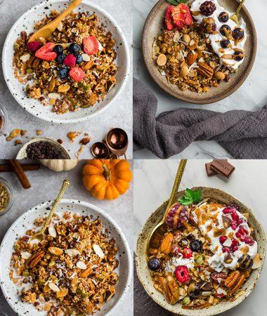 Keto Granola – 4 Ways – Low Carb / Paleo