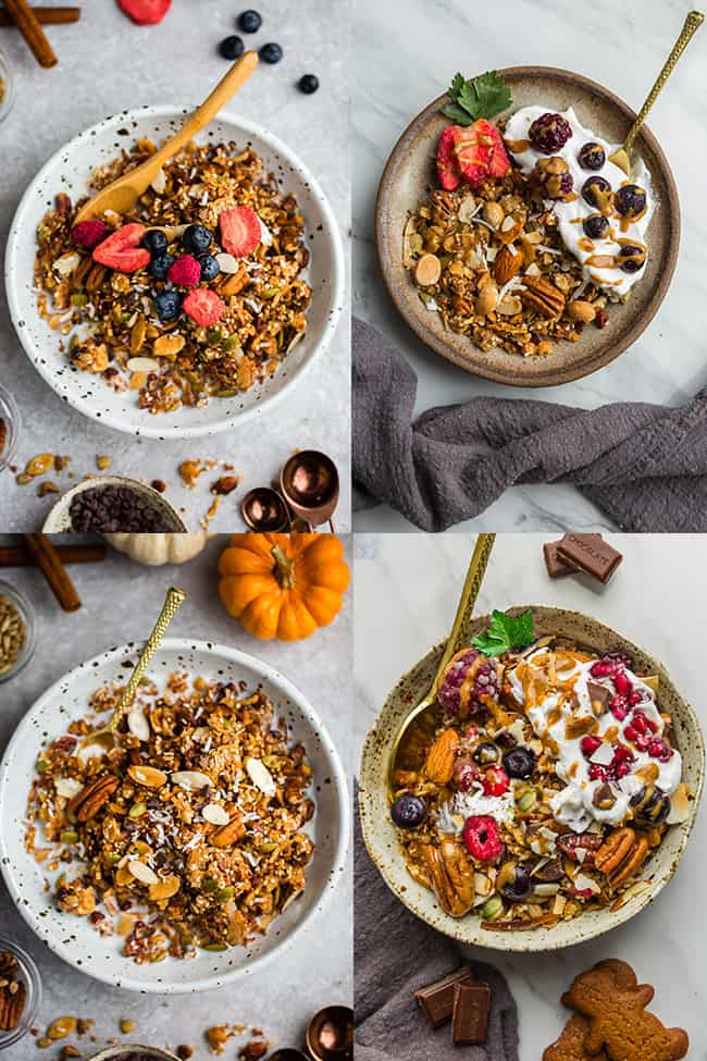 Collage of four bowls of granola