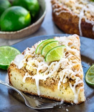 Key Lime Coffee Cake with buttery streusel topping and a white chocolate drizzle makes the perfect decadent treat