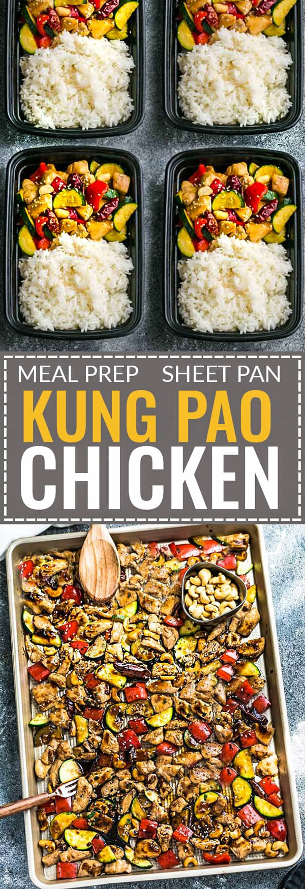 Sheet Pan Kung Pao Chicken has all the flavors of the popular Chinese restaurant takeout dish made on a sheet pan. Best of all, super easy to make with paleo friendly options. Plus a serving of tender crisp broccoli and red & green bell peppers for a healthier meal. Perfect for busy weeknights! Plus a step-by-step how to video! Weekly Sunday meal prep for the week and leftovers are great for lunch bowls & lunchboxes for work or school.