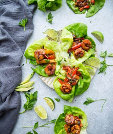 Shrimp Fajita Lettuce Wraps -  fresh, flavorful and a healthier way to enjoy fajitas! Less than 30 minutes to make and perfect for lunch or a lightened up dinner for busy weeknights!