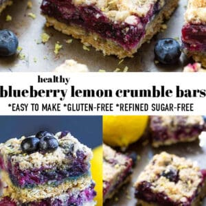 Pinterest collage for lemon blueberry bars with fresh blueberries and lemon.